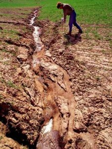 The picture shows how soil gets eroded through natural resources, as river.
