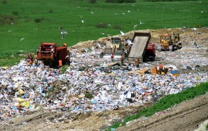 Waste is being dumped through landfill method.