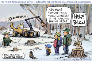 A brilliant cartoon describing the anxieties of the birds as their habitat gets destroyed.