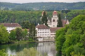 Rheinau (Switzerland) has its 54.8% area covered by forests.