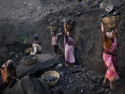 The working conditions in these coal mines are very unhealthy, unlit and unhygienic.