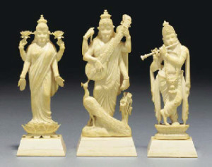 Images of Hindu Deities carved in Ivory