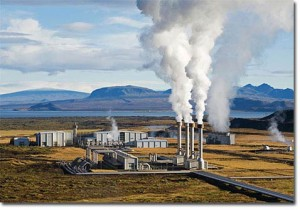 Geothermal power plant. Don't worry, the smoke you see is just air and water vapour