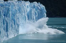 Melting glacier, rising sea-level.