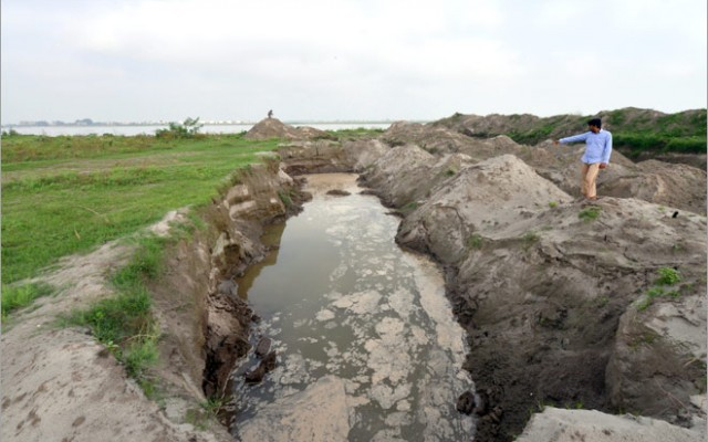 Effect of sand mining on the Yamuna