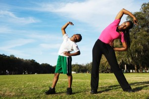 mother-son-exercising-together